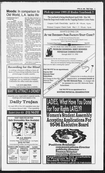 Daily Trojan, Vol. 124, No. 65, April 25, 1995