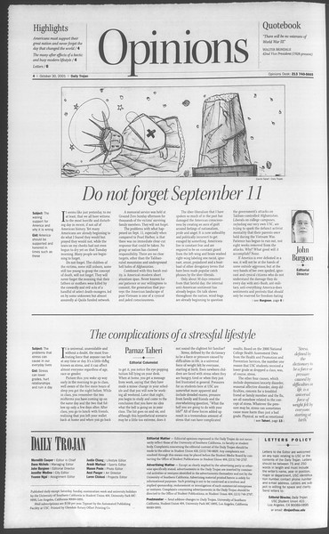 Daily Trojan, Vol. 144, No. 44, October 30, 2001