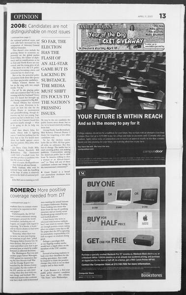 Daily Trojan, Vol. 160, No. 56, April 11, 2007