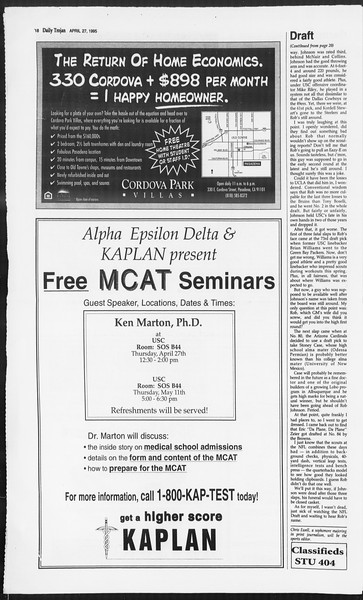 Daily Trojan, Vol. 124, No. 67, April 27, 1995