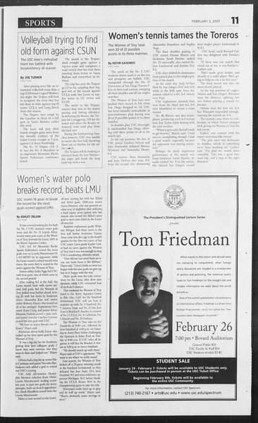 Daily Trojan, Vol. 160, No. 17, February 02, 2007
