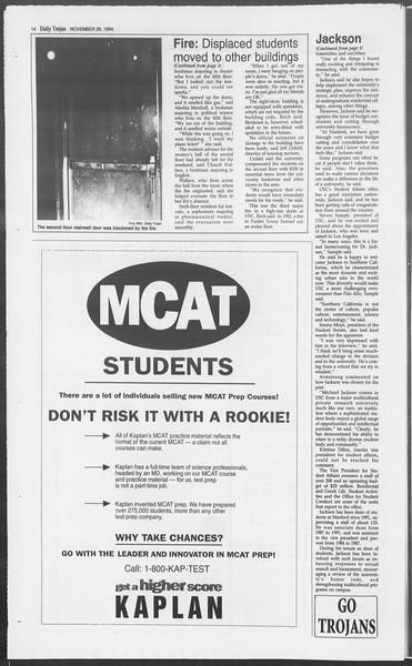 Daily Trojan, Vol. 123, No. 59, November 29, 1994