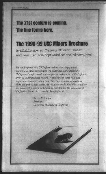 Daily Trojan, Vol. 135, No. 25, October 08, 1998