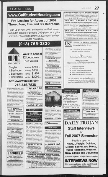 Daily Trojan, Vol. 160, No. 67, April 26, 2007