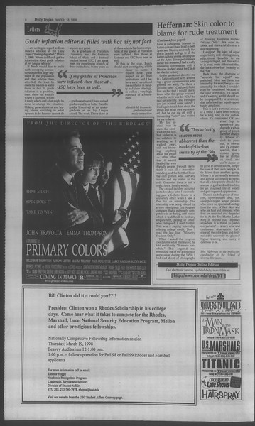 Daily Trojan, Vol. 133, No. 39, March 18, 1998