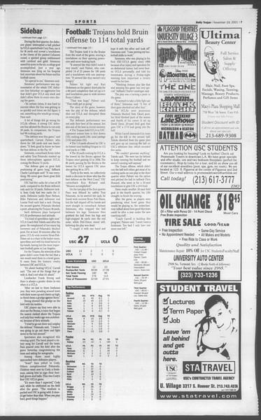 Daily Trojan, Vol. 144, No. 57, November 19, 2001