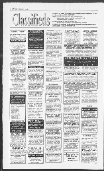 Daily Trojan, Vol. 122, No. 17, February 04, 1994