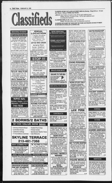 Daily Trojan, Vol. 124, No. 18, February 08, 1995