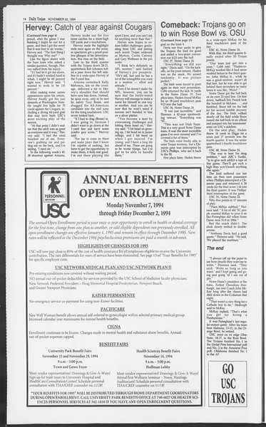 Daily Trojan, Vol. 123, No. 58, November 22, 1994