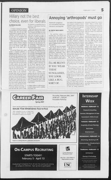 Daily Trojan, Vol. 160, No. 18, February 05, 2007