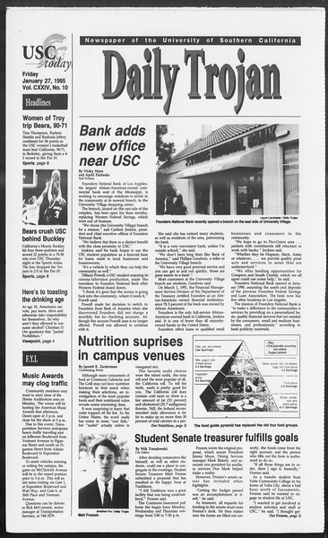 Daily Trojan, Vol. 124, No. 10, January 27, 1995