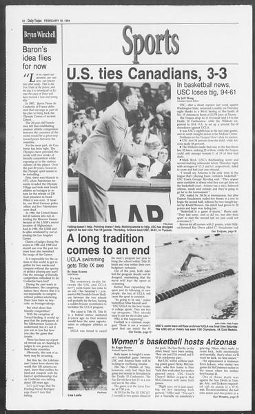 Daily Trojan, Vol. 122, No. 27, February 18, 1994