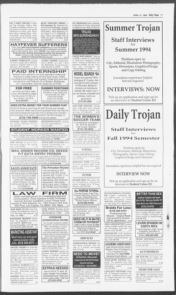 Daily Trojan, Vol. 122, No. 63, April 21, 1994