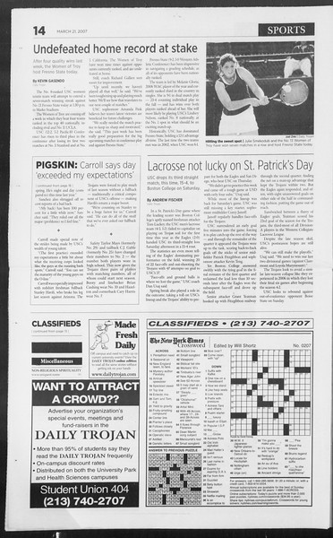 Daily Trojan, Vol. 160, No. 41, March 21, 2007