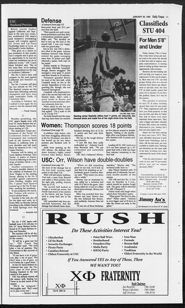 Daily Trojan, Vol. 124, No. 5, January 20, 1995