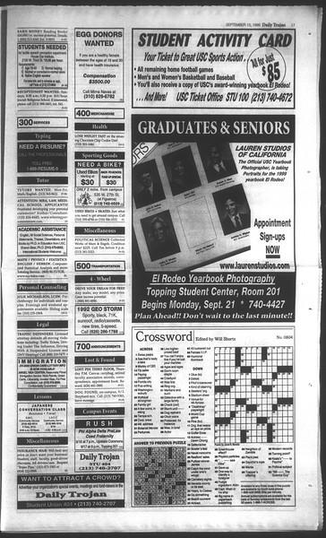 Daily Trojan, Vol. 135, No. 8, September 15, 1998