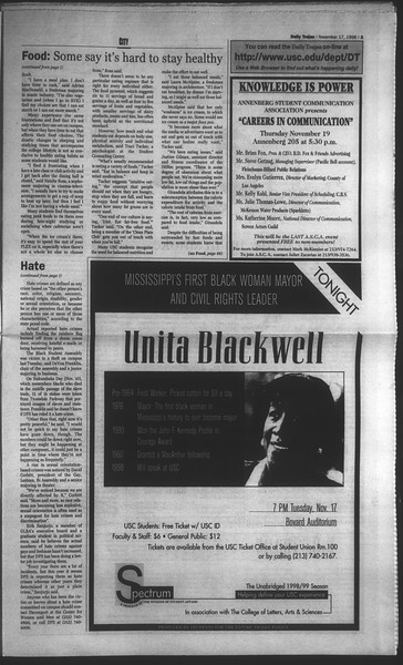 Daily Trojan, Vol. 135, No. 52, November 17, 1998