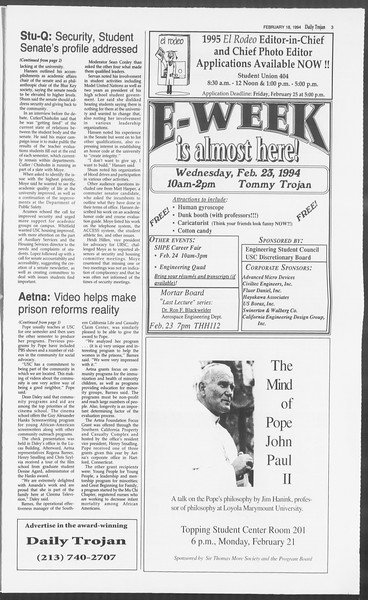 Daily Trojan, Vol. 122, No. 27, February 18, 1994