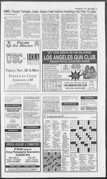 Daily Trojan, Vol. 123, No. 54, November 16, 1994