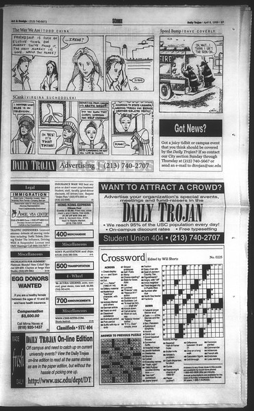 Daily Trojan, Vol. 136, No. 50, April 08, 1999