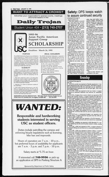 Daily Trojan, Vol. 124, No. 1, January 12, 1995