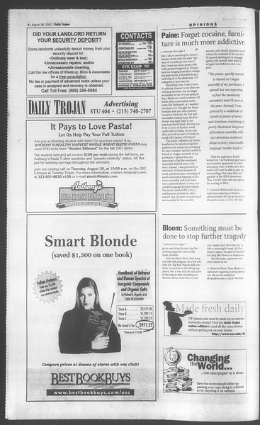 Daily Trojan, Vol. 144, No. 2, August 28, 2001