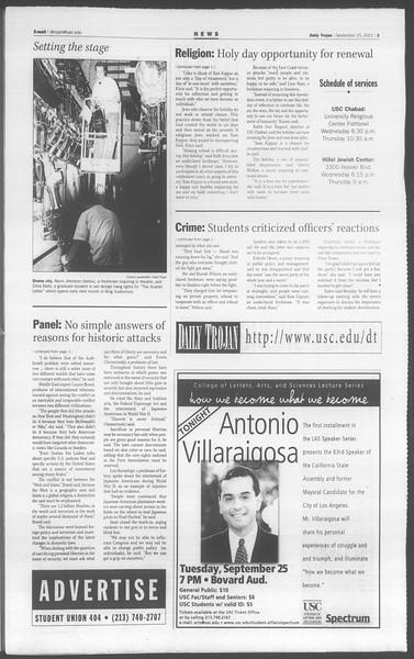Daily Trojan, Vol. 144, No. 19, September 25, 2001