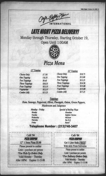 Daily Trojan, Vol. 135, No. 32, October 19, 1998