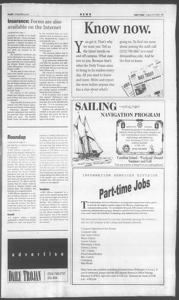 Daily Trojan, Vol. 144, No. 2, August 28, 2001