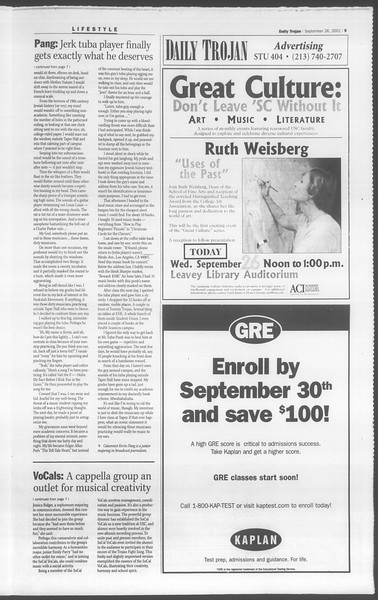 Daily Trojan, Vol. 144, No. 20, September 26, 2001