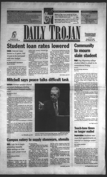 Daily Trojan, Vol. 135, No. 30, October 15, 1998