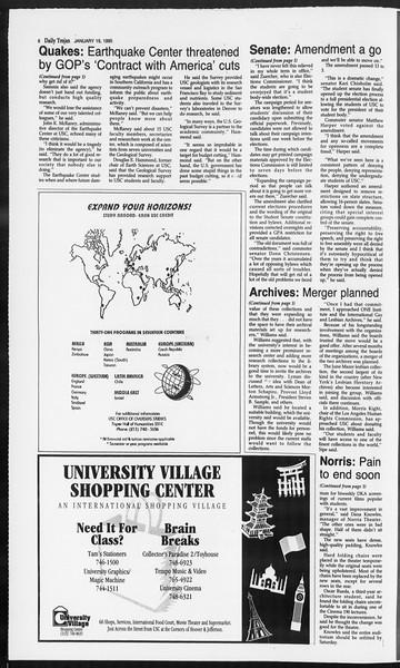 Daily Trojan, Vol. 124, No. 4, January 19, 1995