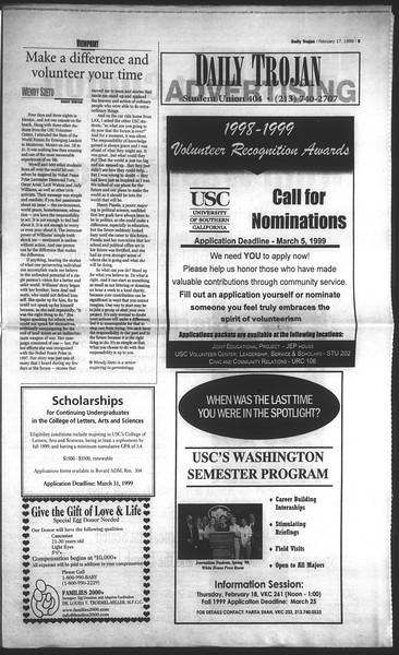 Daily Trojan, Vol. 136, No. 21, February 17, 1999