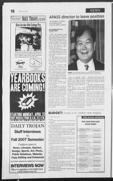 Daily Trojan, Vol. 160, No. 62, April 19, 2007