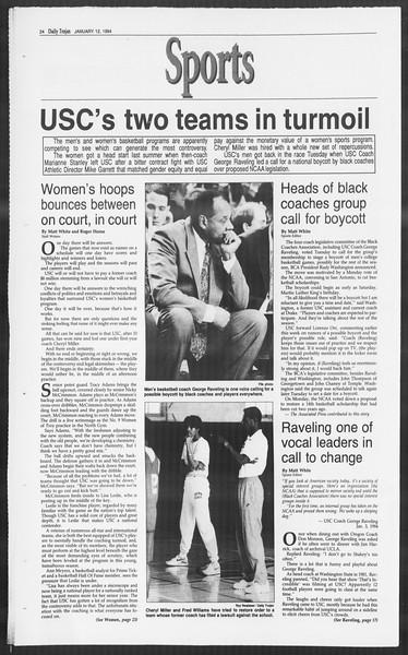 Daily Trojan, Vol. 122, No. 2, January 12, 1994