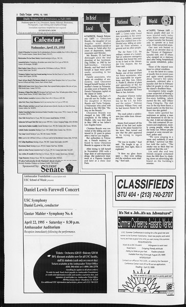 Daily Trojan, Vol. 124, No. 60, April 19, 1995