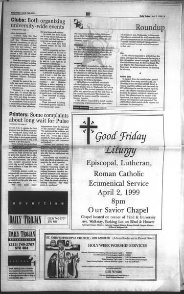 Daily Trojan, Vol. 136, No. 46, April 02, 1999