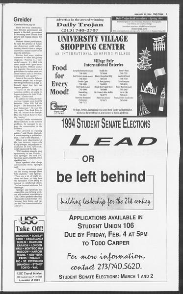 Daily Trojan, Vol. 122, No. 13, January 31, 1994
