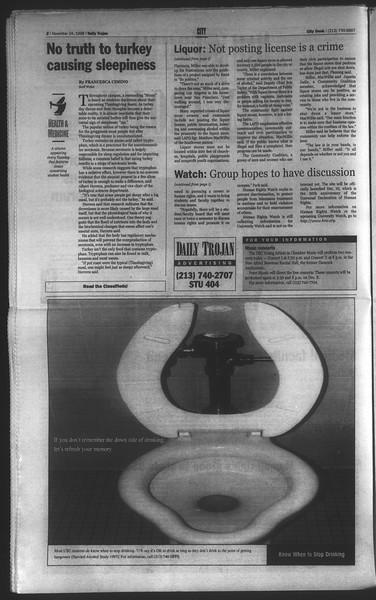 Daily Trojan, Vol. 135, No. 57, November 24, 1998