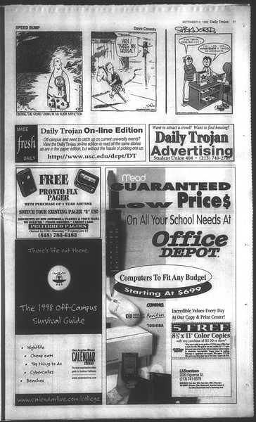 Daily Trojan, Vol. 135, No. 2, September 03, 1998