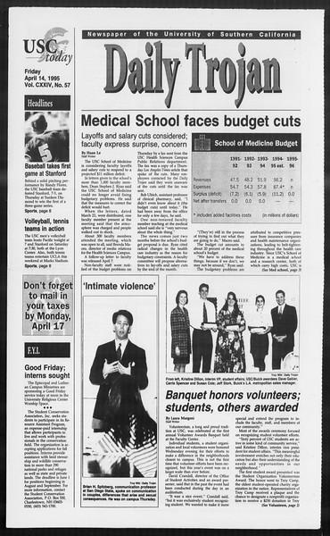 Daily Trojan, Vol. 124, No. 57, April 14, 1995