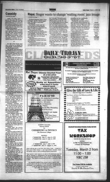 Daily Trojan, Vol. 136, No. 29, March 01, 1999