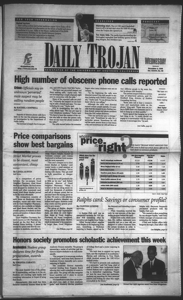 Daily Trojan, Vol. 135, No. 59, December 02, 1998