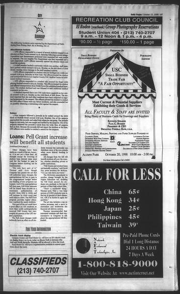 Daily Trojan, Vol. 135, No. 30, October 15, 1998