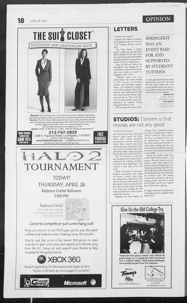 Daily Trojan, Vol. 160, No. 67, April 26, 2007