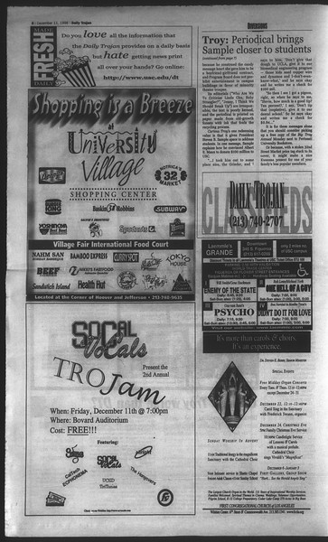 Daily Trojan, Vol. 135, No. 66, December 11, 1998