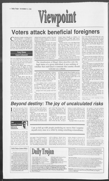 Daily Trojan, Vol. 123, No. 52, November 14, 1994