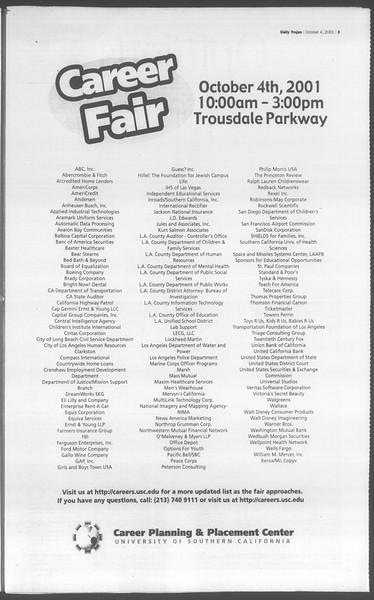 Daily Trojan, Vol. 144, No. 26, October 04, 2001