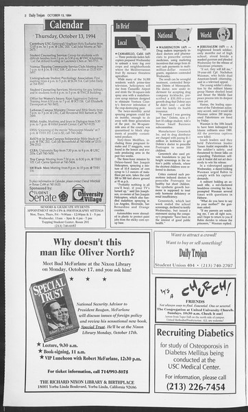 Daily Trojan, Vol. 123, No. 30, October 13, 1994