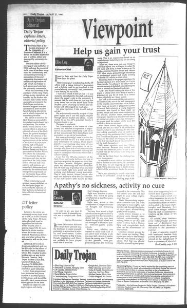 Daily Trojan, Vol. 135, No. 1, August 27, 1998
